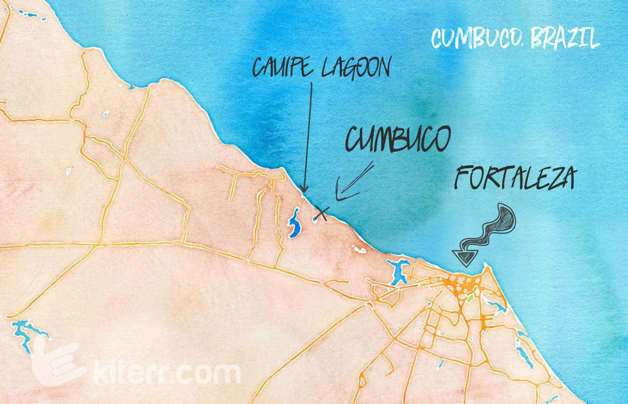 The best kiteboarding spots in Cumbuco, Brazil - Guide & Map // Kiterr.com