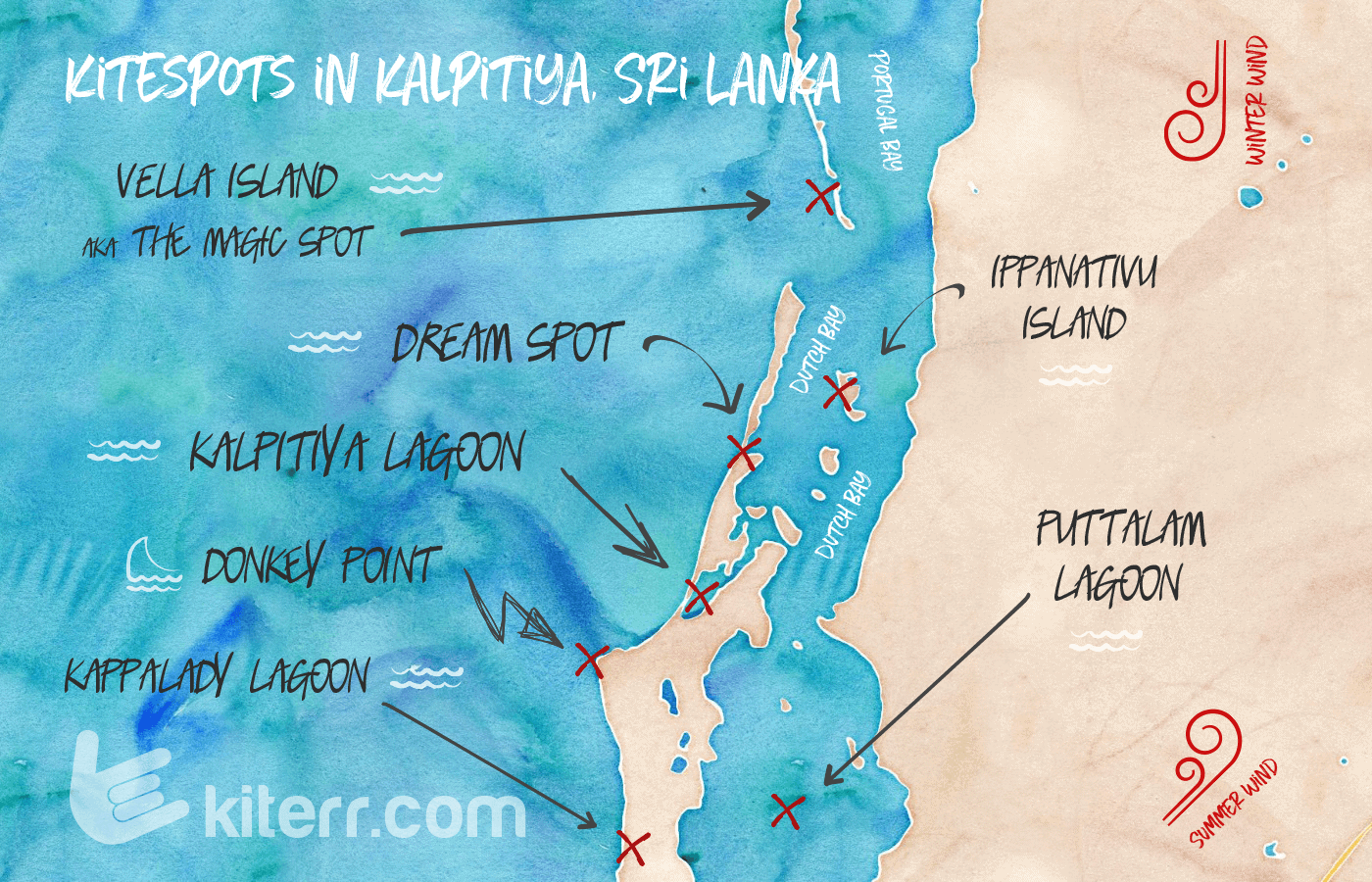 The best kitesurfing spots in Kalpitiya, Sri Lanka - Spot guide & Map // Kiterr.com