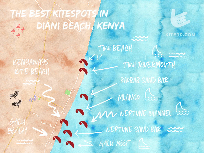 The best kitesurfing spots in Diani Beach, Kenya - Map & Guide // Kiterr.com